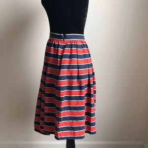 Clothing, Shoes & Accessories Frugal Navy Blue And Black Striped Stretchy Midi Pencil Skirt Size 12 Bright Luster